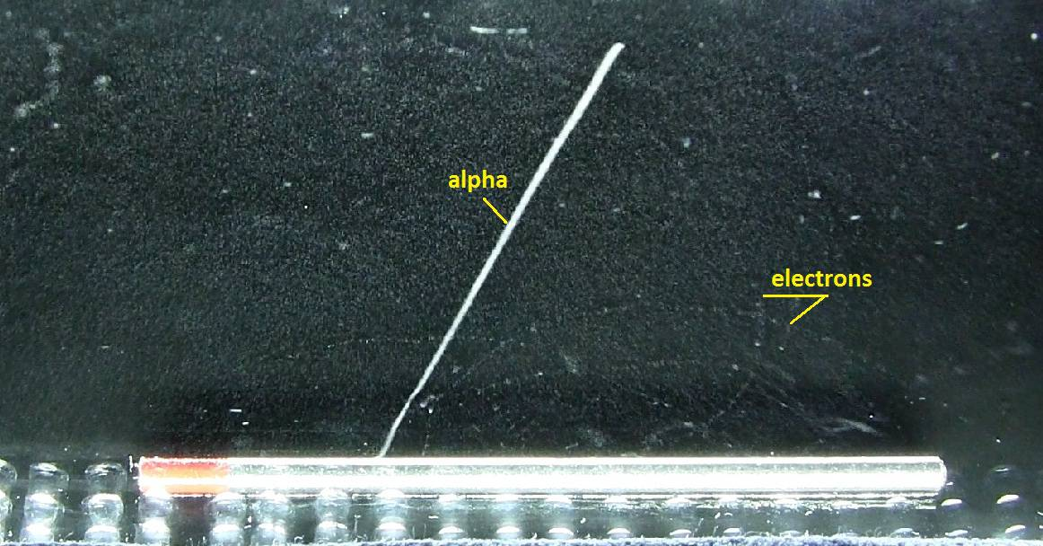 Alpha particles and electrons (deflected by a magnetic field) from a thorium rod in a cloud chamber