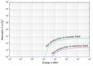 Cross section of pair production  in nuclear field and electron field.