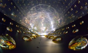 The inside of a cylindrical antineutrino detector before being filled with clear liquid scintillator, which reveals antineutrino interactions by the very faint flashes of light they emit. Sensitive photomultiplier tubes line the detector walls, ready to amplify and record the telltale flashes. Photo: Roy Kaltschmidt, LBNL Source: Daya Bay Reactor Neutrino Experiment