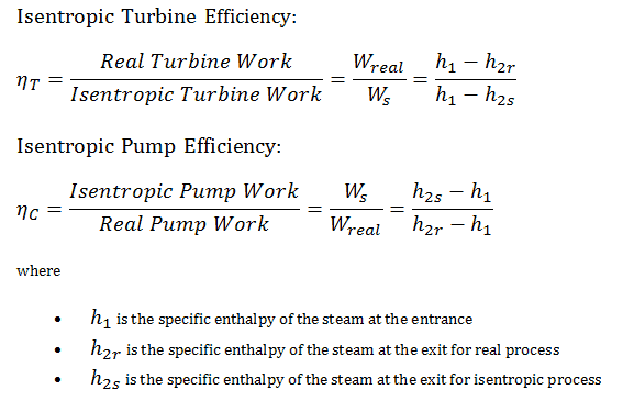 Isentropic Efficiency - turbine - pump
