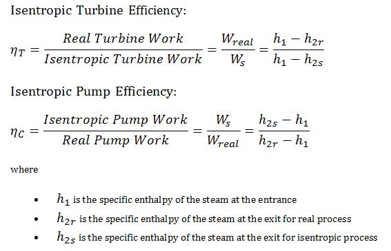 Isentropic Efficiency - turbine - pump