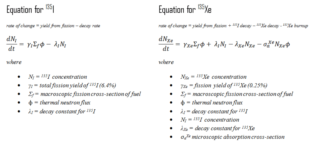 xenon 135 - iodine 135 - equations