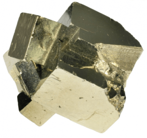 Twinned pyrite crystal