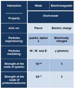 weak and electromagnetic interaction